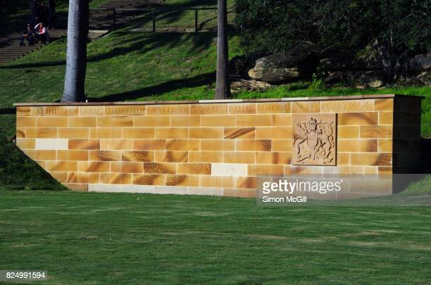 Sandstone wall commemorating Queen Elizabeth II's first landing in Australia, Sydney, New South Wales, Australia