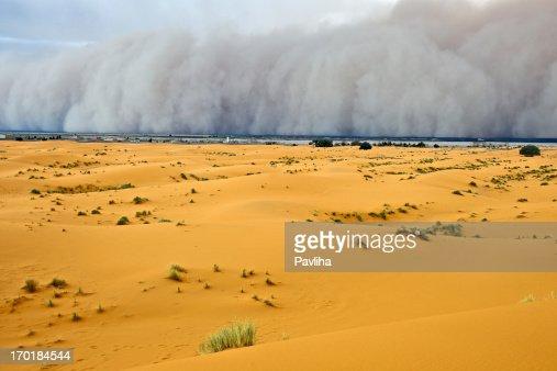 Sandstorm Approaching Merzouga Settlement Morocco