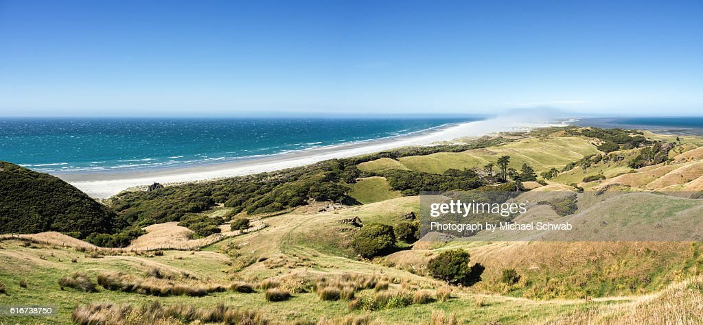 Sandstorm over Farewell Spit, New Zealand : Stock Photo