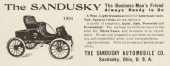 A Sandusky runabout automobile is pictured in a magazine advertisement from 1901 The ad states 'The carriage we build has been on the road for Three...