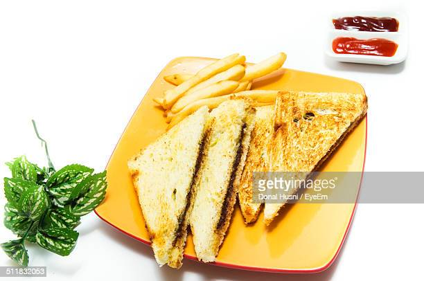 Sandwich and French fries served in a tray