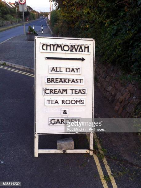 A sandwich board outside Chymorvah Hotel in Marazion near Penzance Cornwall owned by Christians Peter Bull and his wife Hazelmary who were ordered to...
