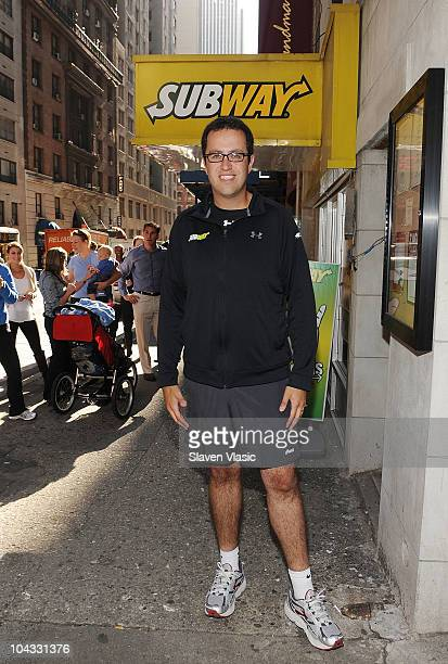 SUBWAY sandwich enthusiast Jared Fogle trains for the ING New York City Marathon outside of Subway Restaurant on September 21 2010 in New York City