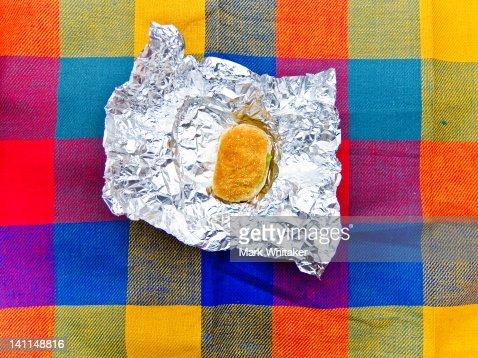 Sandwich on picnic blanket : Stock Photo