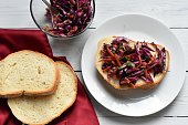 Red cabbage on a slice of bread