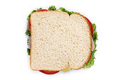 sandwich with ham and cheese on white background