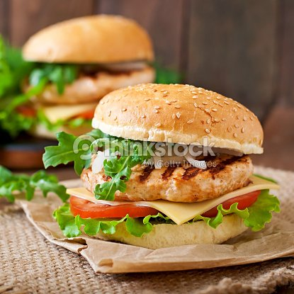 Sandwich With Chicken Burger Tomatoes Cheese And Lettuce ...