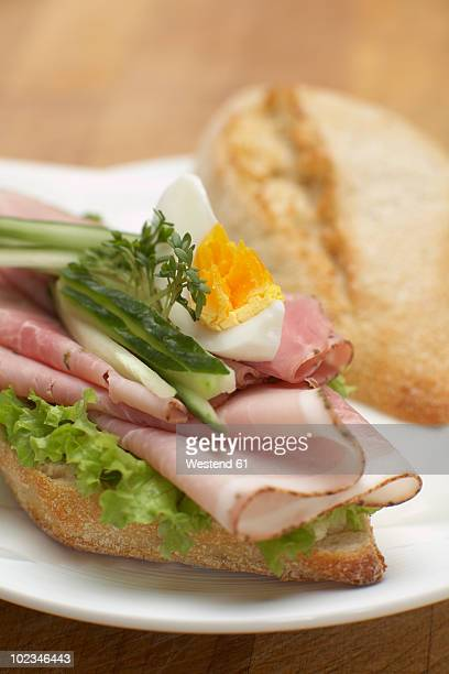 Sandwich with cooked ham, close-up