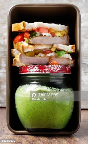 Sandwich with green smoothie