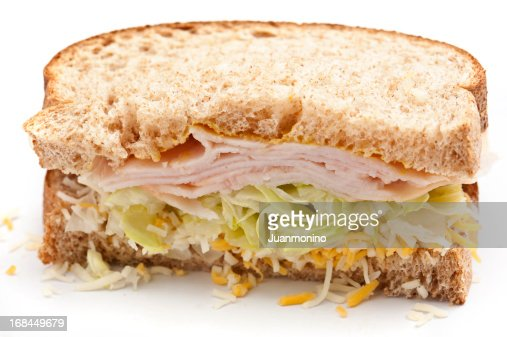 Half turkey and cheese sandwich : Stock Photo