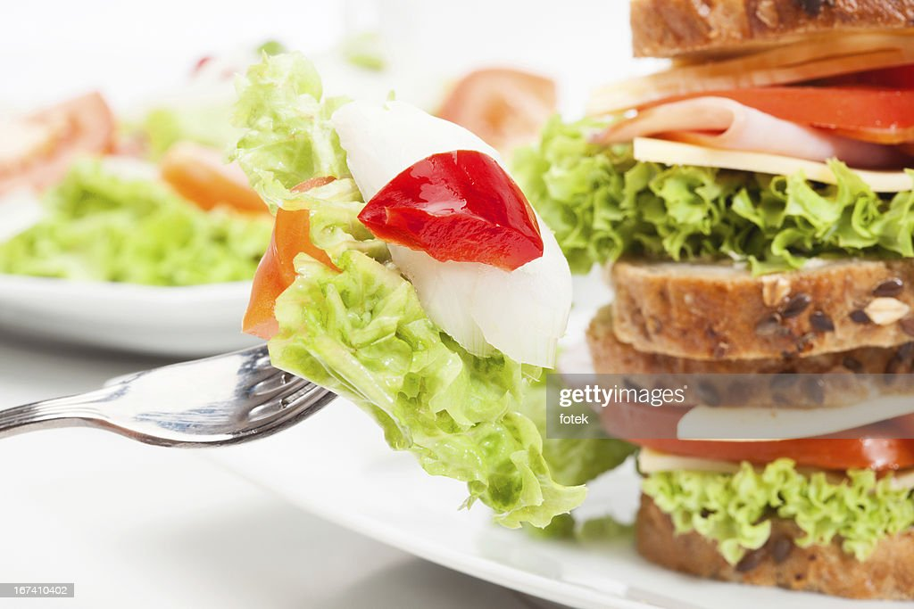 Sandwiches and salad : Stock Photo