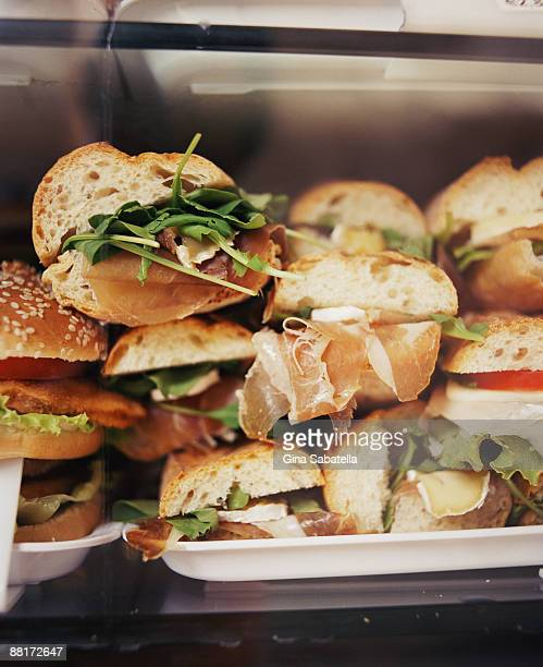 Sandwiches in display case