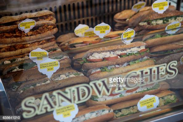 Sandwiches on display in a cafe window in Marylebone on February 16 2017 in London England The Association for Licensed Multiple Retailers have...