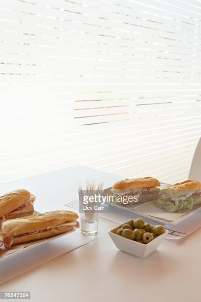 Sandwiches on table in Cafe. Alicante, Spain.