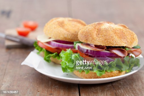 Sandwiches on Wooden Table : Stock Photo