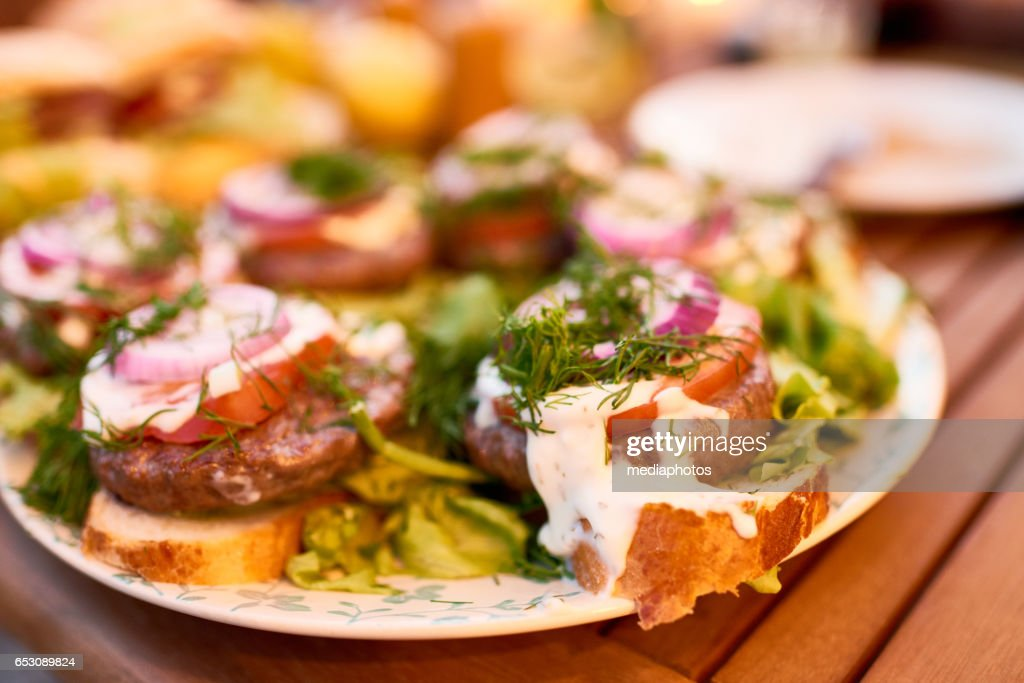 Sandwiches with barbecued meat : Stock Photo