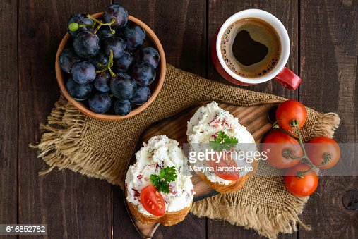 Sandwiches with pate cheese, garlic, slices of pepper, dill. : Stock Photo