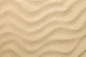 Sandy background. Sand beach texture for summer. Copy space. Top view