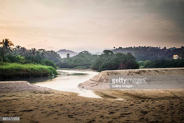 Sandy beach and lake in jungle