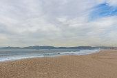Sandy beach on an overcast day