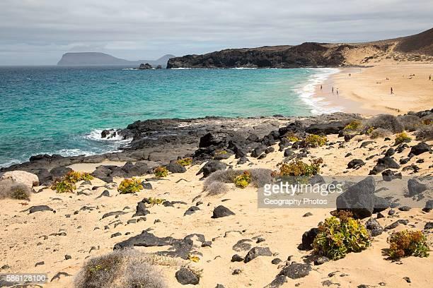 Sandy beach Playa de las Conchas Graciosa island Lanzarote Canary Islands Spain
