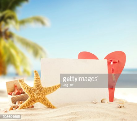 Sandy beach with blank paper for text : Stock Photo