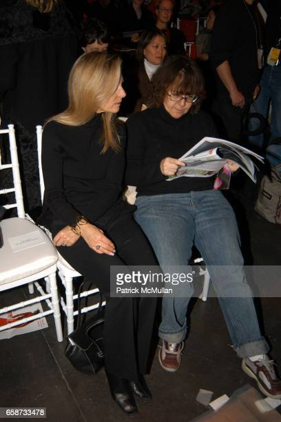 Sandy Brant and Ingrid Sischy attend the front row at Diane von Furstenberg Fashion Show at DVF Studios on February 8 2004 in New York City