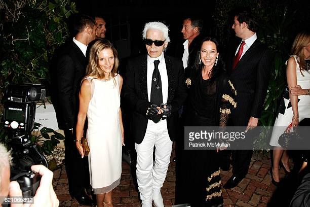 Sandy Brant Karl Lagerfeld and Lady Amanda Harlech attend CHANEL Private Dinner for KARL LAGERFELD at Casa Tua on May 14 2008 in Miami Beach FL