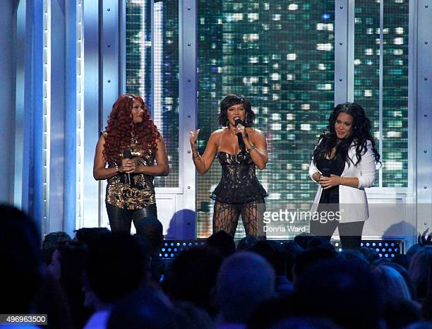 Sandy Denton Mel B and Cheryl James appear during VH1's 'Big Music In 2015 You Oughta Know' at The Foundation on November 12 2015 in New York City