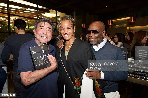 Sandy Gallin Erica Reid and LA Reid pose for a photo at the LA Reid 'Sing To Me' PreGrammy Brunch at Hinoki The Bird on February 13 2016 in Los...