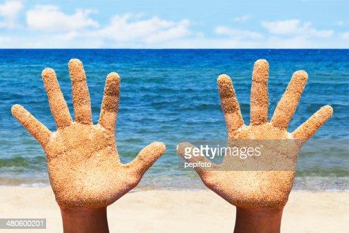 Sandy Hands : Stock Photo