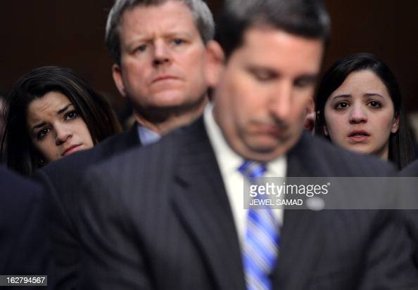 Sandy Hook Elementary shooting victim firstgrade teacher Victoria Soto's sisters Jillian Soto and Carlee Soto listen during Senate Judiciary...
