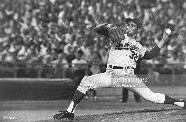Sandy Koufax of the Los Angeles Dodgers delivers a pitch during a game circa 19581966