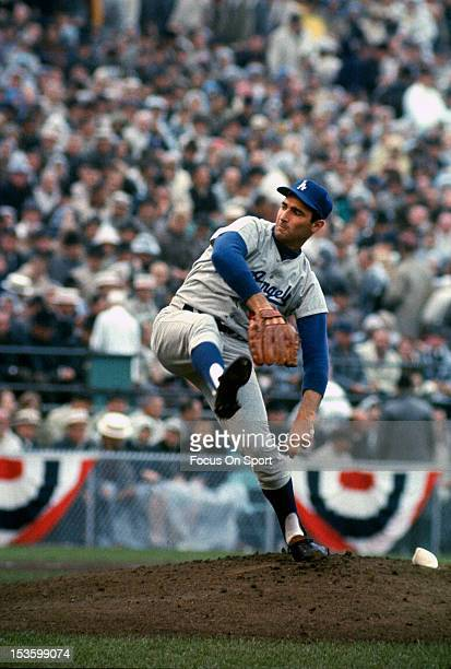 Sandy Koufax of the Los Angeles Dodgers pitches against the Minnesota Twin in game 7 of the 1965 World Series October 14 1965 at Metropolitan Stadium...