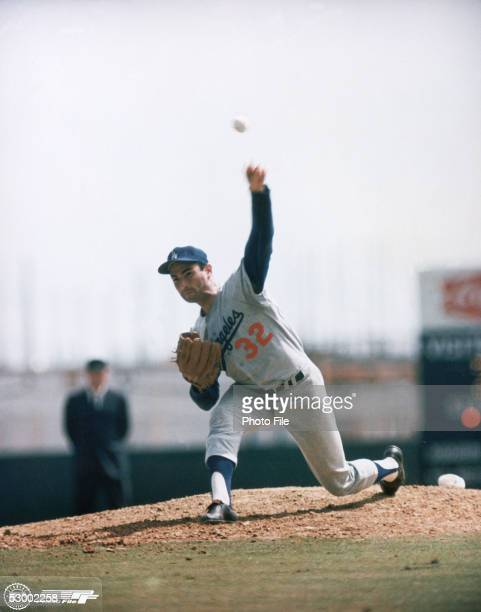 Sandy Koufax of the Los Angeles Dodgers pitches during a season game Sandy Koufax played for the Los Angeles Dodgers from 19581966