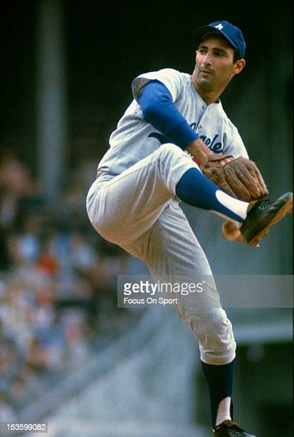 Sandy Koufax of the Los Angeles Dodgers pitches during an Major League Baseball game circa 1965 Koufax played for the Dodgers from 195566
