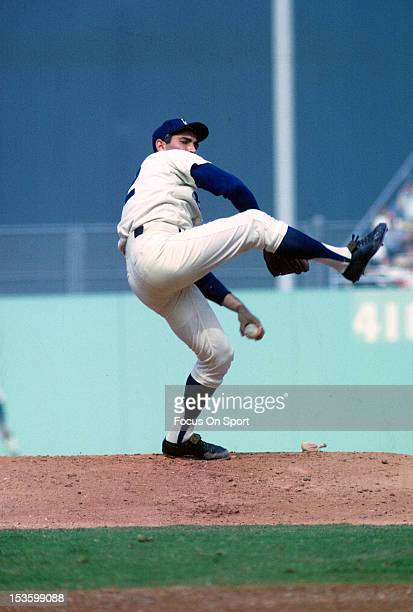 Sandy Koufax of the Los Angeles Dodgers pitches during an Major League Baseball game circa 1965 at Dodgers Stadium in Los Angeles California Koufax...