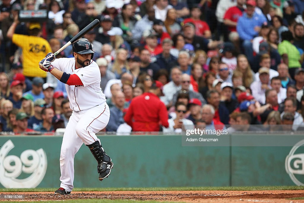 Sandy Leon of the Boston Red Sox bats base during the game against the Tampa Bay Rays at Fenway Park on July 9 2016 in Boston Massachusetts