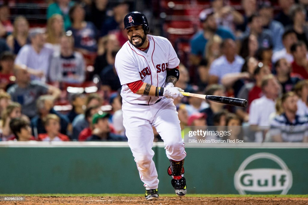 Sandy Leon #3 of the Boston Red Sox reacts after flying out during the eighth inning of a game against the Minnesota Twins on June 28, 2017 at Fenway Park in Boston, Massachusetts.