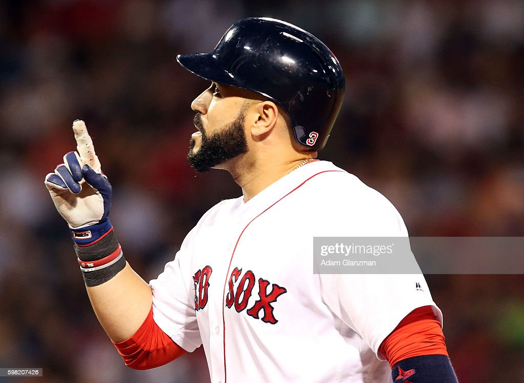 Sandy Leon of the Boston Red Sox reacts in the second inning during a game against the Tampa Bay Rays at Fenway Park on August 29 2016 in Boston...