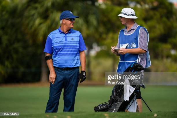 Sandy Lyle discusses his next shot with his caddy on the 11th hole during the second round of the PGA TOUR Champions Allianz Championship at The Old...