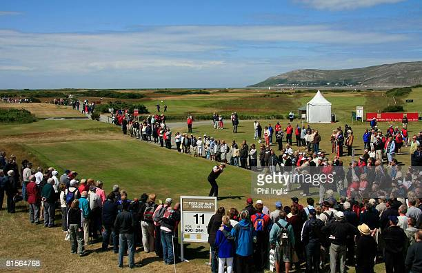 Sandy Lyle of Scotland drives from the 11th tee during the second round of the Ryder Cup Wales Seniors Open at Conwy Golf Club on June 14 2008 in...