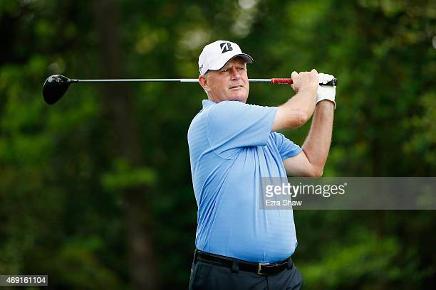 Sandy Lyle of Scotland hits his tee shot on the second hole during the second round of the 2015 Masters Tournament at Augusta National Golf Club on...