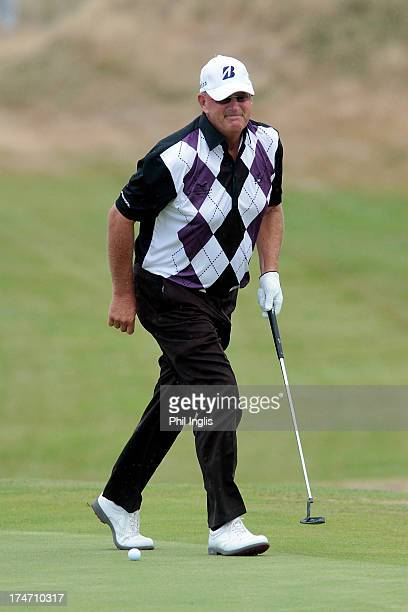 Sandy Lyle of Scotland in action during the final round of The Senior Open Championship played at Royal Birkdale Golf Club on July 28 2013 in...