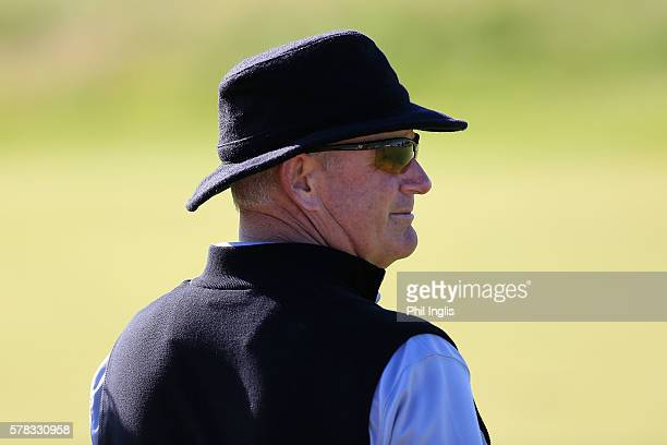 Sandy Lyle of Scotland in action during the first round of the Senior Open Championship played at Carnoustie Golf Club on July 21 2016 in Carnoustie...