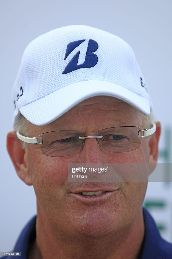 Sandy Lyle of Scotland in media interview after the third round of The Senior Open Championship played at Royal Birkdale Golf Club on July 27, 2013 in Southport, United Kingdom.