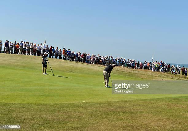 Sandy Lyle of Scotland plays a putt shot on the 5th hole during the second round of the Senior Open Championship at Royal Porthcawl Golf Club on July...