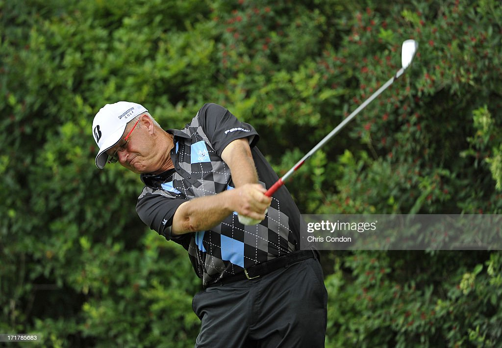 <a gi-track='captionPersonalityLinkClicked' href=/galleries/search?phrase=Sandy+Lyle&family=editorial&specificpeople=214683 ng-click='$event.stopPropagation()'>Sandy Lyle</a> of Scotland plays from the 6th tee during the second round of the Constellation SENIOR PLAYERS Championship at Fox Chapel Golf Club on June 28, 2013 in Pittsburgh, Pennsylvania.