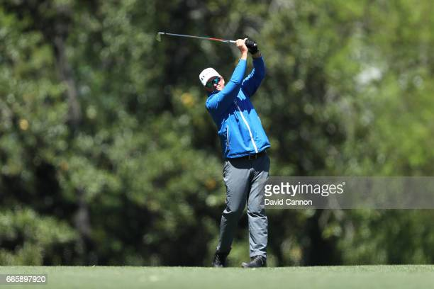 Sandy Lyle of Scotland plays his second shot on the fifth hole during the second round of the 2017 Masters Tournament at Augusta National Golf Club...