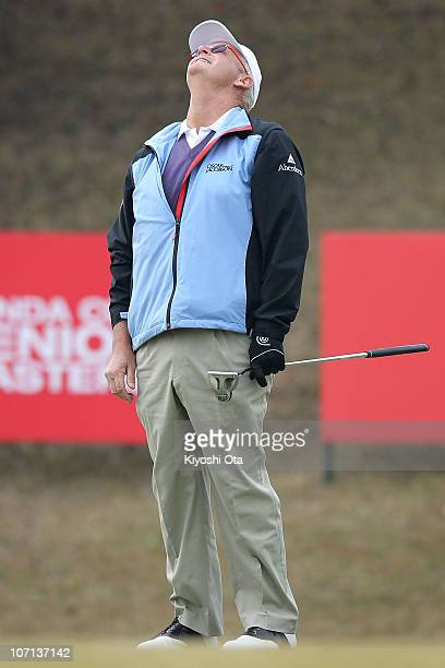 Sandy Lyle of Scotland reacts after putting on the green of the 9th hole during day one of the 2010 Handa Cup Senior Masters at Ohmurasaki Golf Club...